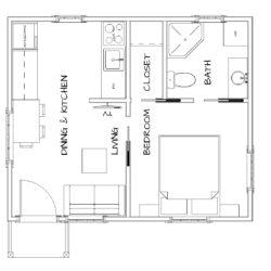 1 Bedroom, 1 Bath 320 SF