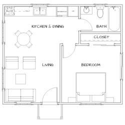 1 Bedroom, 1 Bath. 480 SF