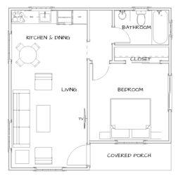 1 Bedroom, 1 Bath. 528 SF