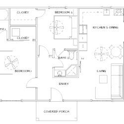 2 Bedroom, 2 Bath. 840 SF